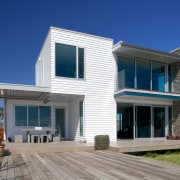 Palliside weatherboards are more than a match for architecture, building, commercial building, cottage, elevation, estate, facade, home, house, property, real estate, residential area, siding, villa, window, blue, gray