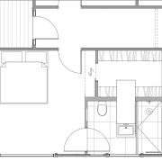 Plan: This ensuite is divided into two areas, angle, architecture, area, artwork, black and white, design, diagram, drawing, floor plan, font, line, line art, plan, product, product design, structure, technical drawing, white