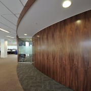 Specialist finishes abound in the fit-out of the architecture, ceiling, daylighting, floor, flooring, interior design, lobby, real estate, wall, brown, gray