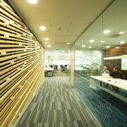 Internal glass walls in this Canam fit-out for architecture, ceiling, daylighting, interior design, lobby, wood, brown