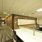 Canam Interiors has transformed Orion Healths head office ceiling, interior design, orange, brown