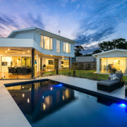 Narellan Pools offers a comprehensive range of contemporary, architecture, backyard, elevation, estate, facade, home, house, property, real estate, residential area, sky, swimming pool, villa, window, teal