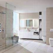 Geberits space-saving in-wall cisterns are an increasingly popular bathroom, bathroom accessory, bathroom cabinet, floor, flooring, interior design, laminate flooring, plumbing fixture, room, sink, tile, wall, wood flooring, gray