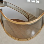 Glasshape was able to create a tight curve chair, furniture, handrail, plywood, product design, table, gray