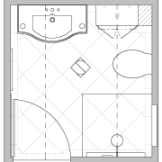 This ensuites layout optimises space at literally every angle, area, black and white, design, diagram, drawing, line, line art, pattern, product design, square, symmetry, white