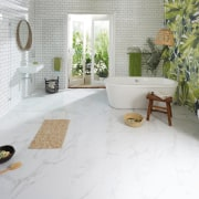 Light, breezy and packed with functionality, this bathroom bathroom, floor, flooring, home, interior design, property, room, tile, wall, white, gray