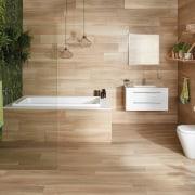 Wood is an increasingly popular look in todays bathroom, floor, flooring, hardwood, interior design, laminate flooring, tile, wall, wood, wood flooring, brown, orange