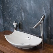 Hansgrohes Axor Starck Organic Basin Mixer and Kohlers bathroom, bathroom sink, ceramic, floor, plumbing fixture, product design, sink, tap, gray, brown