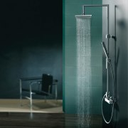 The Syncro Plus Shower Column in Chrome by bathroom, glass, plumbing fixture, product design, shower, tap, black