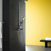 Puravida tapware is just one of many showcased bathroom, door, floor, flooring, glass, interior design, plumbing fixture, product design, wall, black, yellow