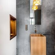 A wall niche in Tasmanian blackwood is in bathroom, bathroom cabinet, floor, interior design, product design, sink, tap, wall, gray, white