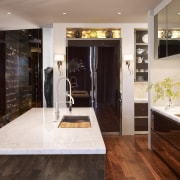 Reflective surfaces such as high gloss walnut cabinetry countertop, floor, flooring, interior design, room, red, white