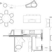 Plan of a kitchen by MIck De Giulio angle, area, artwork, black and white, design, diagram, drawing, floor plan, font, furniture, line, line art, product, product design, structure, technical drawing, text, white