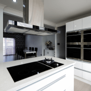 This sleek, contemporary white kitchen is designed and cabinetry, countertop, cuisine classique, home appliance, interior design, kitchen, room, gray