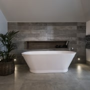 The side walls of this bathroom are finished architecture, bathroom, floor, flooring, interior design, product design, room, tile, wall, gray