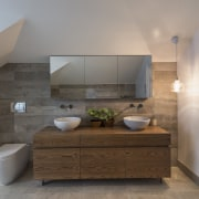 Concrete-look porcelain floor and wall tiles set the architecture, bathroom, countertop, floor, home, interior design, real estate, room, sink, gray