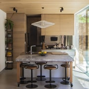 A table on wheels can be rolled up cabinetry, countertop, cuisine classique, interior design, kitchen, window, gray