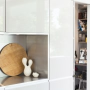 In this kitchen by Nancy Frost, the full furniture, interior design, product design, shelf, shelving, white