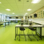 Services are laid to the perimeter of laboratory cafeteria, interior design, office, table, yellow, green, yellow