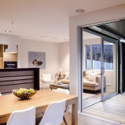 Substantial double sliding doors from Windowmakers mean this interior design, real estate, gray