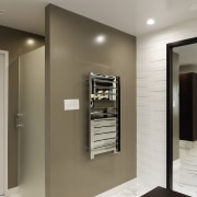 In this project, the toilet, with frosted door, floor, interior design, gray, brown