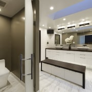 The toilet cubicle, with frosted glass door, offers bathroom, interior design, kitchen, real estate, room, gray, brown