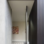 On this renovation project, the front door has architecture, house, interior design, white, gray