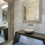 For this dressed to impress bathroom, designer Owen architecture, bathroom, floor, interior design, room, sink, tile, gray