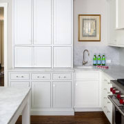 This above-counter cabinet is in a light silver, cabinetry, countertop, cuisine classique, floor, furniture, home, home appliance, interior design, kitchen, room, window, white