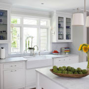 For this kitchen, designer Jan Goldman, of Kitchen cabinetry, countertop, cuisine classique, home appliance, interior design, kitchen, room, window, gray