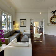The long view – a vista extends from ceiling, estate, home, interior design, living room, property, real estate, room, gray