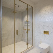 With facilities shuffled around but services remaining in bathroom, floor, glass, interior design, plumbing fixture, product design, room, tile, wall, gray