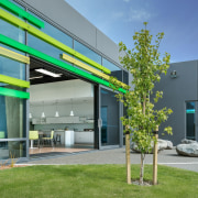 The ligh-filled interiors at Ravenswood Fertiliser Company feature architecture, facade, house, real estate, teal, gray