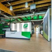 Wood portals are a feature of this corporate interior design