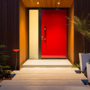 Resene Jalapeno features on this front door, part architecture, door, home, house, interior design, lighting, wood, black