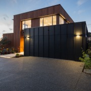 Resene Lumbersider Black was selected for this garage architecture, building, estate, facade, home, house, property, real estate, residential area, siding, sky, black