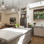 Open to view  this new kitchen opens cabinetry, countertop, cuisine classique, home, interior design, kitchen, real estate, room, gray, brown