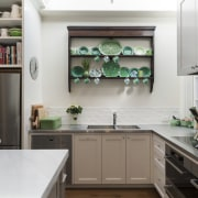 White undulating tiles on the splashback add brightness cabinetry, countertop, cuisine classique, home, home appliance, interior design, kitchen, room, gray, white