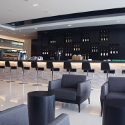 In this new Air New Zealand International Lounge interior design, lobby, gray, black