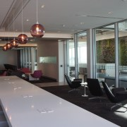 This business zone in the Air New Zealands interior design, office, table, gray, black