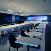 Feature spaces in Air New Zealand's new International auditorium, conference hall, interior design, blue, gray