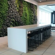 This indoor-outdoor terrace  complete with living wall floor, flooring, furniture, interior design, property, table, white