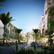This large urban village will offer shopping, apartments arecales, building, city, condominium, downtown, home, metropolis, metropolitan area, mixed use, neighbourhood, palm tree, property, real estate, residential area, sky, street, town, tree