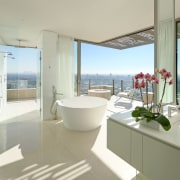 Room with quite a view  this white, architecture, bathroom, interior design, property, real estate, room, window, gray