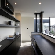 As part of a house that utilises every apartment, architecture, house, interior design, real estate, gray, black