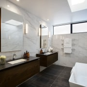 The bathroom is one of the most luxurious architecture, bathroom, floor, home, interior design, real estate, room, gray, white