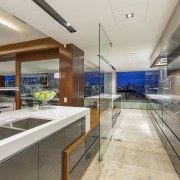 :Seen from within, and with the connecting glass countertop, estate, house, interior design, kitchen, real estate, gray