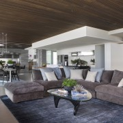 Timber ceilings add warmth to these living areas. ceiling, home, house, interior design, living room, real estate, gray, black