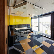 In the fit-out of law firm Tavendale and architecture, ceiling, glass, interior design, office, gray