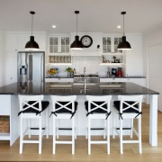 At your service – everything is immediately to chair, countertop, cuisine classique, dining room, furniture, interior design, kitchen, room, table, gray